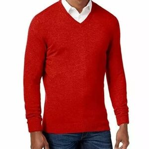 Club Room Cashmere V-neck Sweater L Red